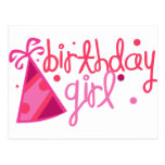 Birthday Girl Party Hat Postcard