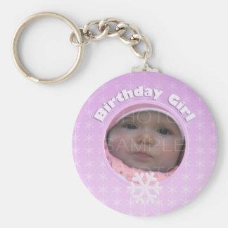 Birthday Girl Photo Winter Onederland Basic Round Button Keychain