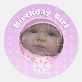 Birthday Girl Photo Winter Onederland Classic Round Sticker