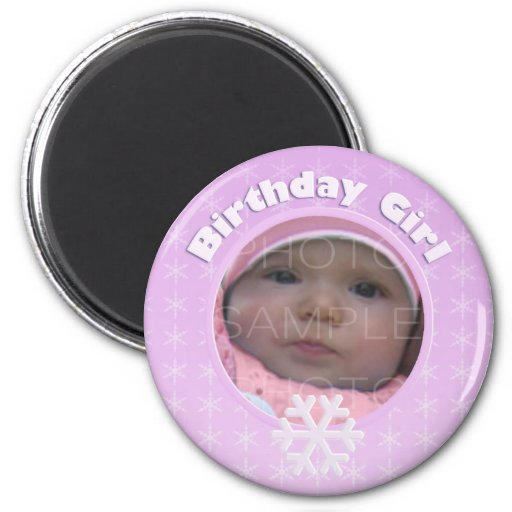 Birthday Girl Photo Winter Onederland Refrigerator Magnets