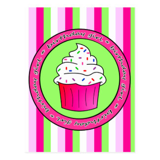 Birthday Girl Pink Cupcake with Sprinkles Postcard