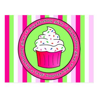Birthday Girl Pink Cupcake with Sprinkles Postcards