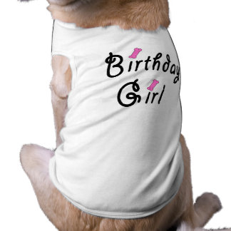 Birthday Girl - Pink Dog Bones Doggie Shirt