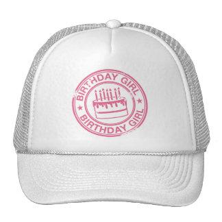 Birthday Girl -pink rubber stamp effect- Trucker Hat
