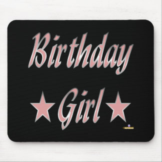 Birthday Girl Pink Stars Mouse Mat