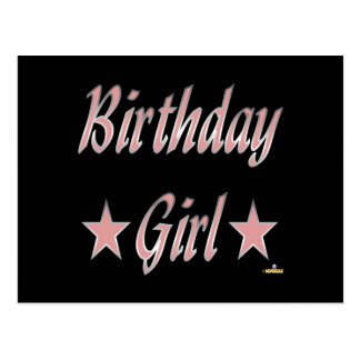 Birthday Girl Pink Stars Postcard