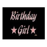 Birthday Girl Pink Stars Postcards