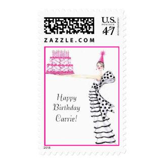 birthday girl postage stamp