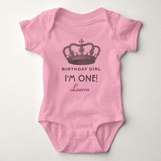 Birthday Girl Princess Crown One Year Old V01N Baby Bodysuit
