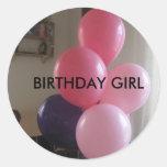 , BIRTHDAY GIRL ROUND STICKERS