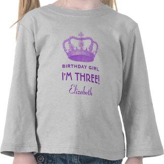 Birthday Girl Royal Princess Crown 3 Years Old Tees
