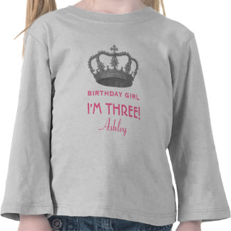 Birthday Girl Royal Princess Crown 3 Years Old V06 T-shirts