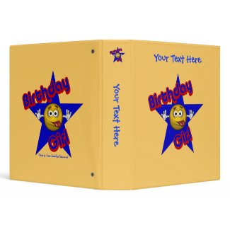 Birthday Girl Smiley Face Personalized Notebook binder