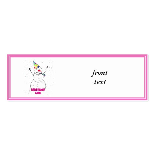 Birthday Girl - Snow Girl with Pink Trim Business Cards