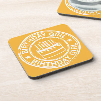 Birthday Girl -white rubber stamp effect- Coaster