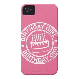 Birthday Girl -white rubber stamp effect- iPhone 4 Cover