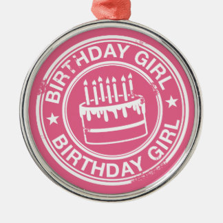 Birthday Girl -white rubber stamp effect- Metal Ornament