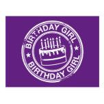 Birthday Girl -white rubber stamp effect- Postcard