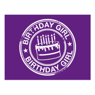 Birthday Girl -white rubber stamp effect- Postcard