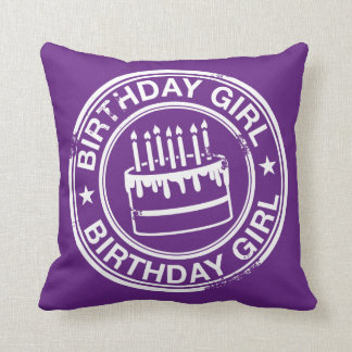 Birthday Girl -white rubber stamp effect- Throw Pillow