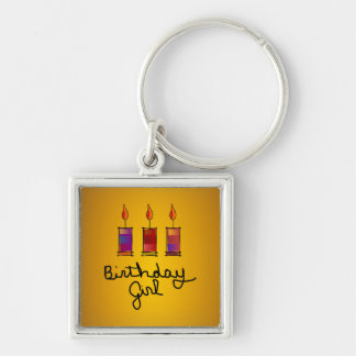 Birthday Girl With 3 Multi-Color Candles Keychain
