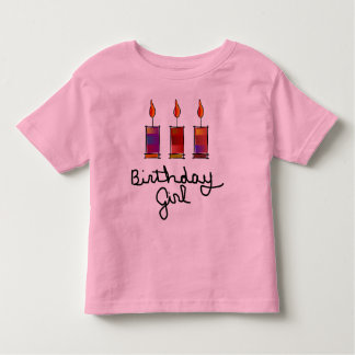 Birthday Girl With 3 Multi-Color Candles T-shirt