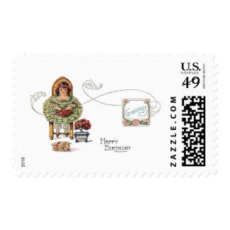 Birthday Girl with Bonsai Postage Stamp