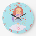 Birthday Girl With Cool Sweet Unicorn Trendy Funny Large Clock