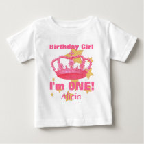 Birthday Girl with Crown I'm ONE! Custom Name V06A Baby T-Shirt