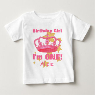 Birthday Girl with Crown I'm ONE! Custom Name V06A Infant T-shirt