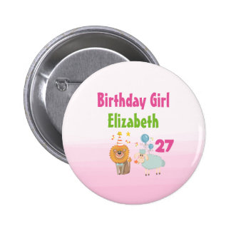 Birthday Girl with Party Lion and Balloon Sheep Button