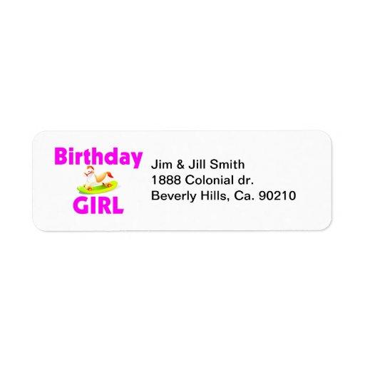 Birthday Girl With Rocking Horse Return Address Label