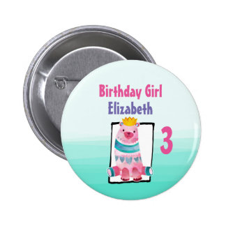 Birthday Girl with Watercolor Bear Wearing a Crown Button