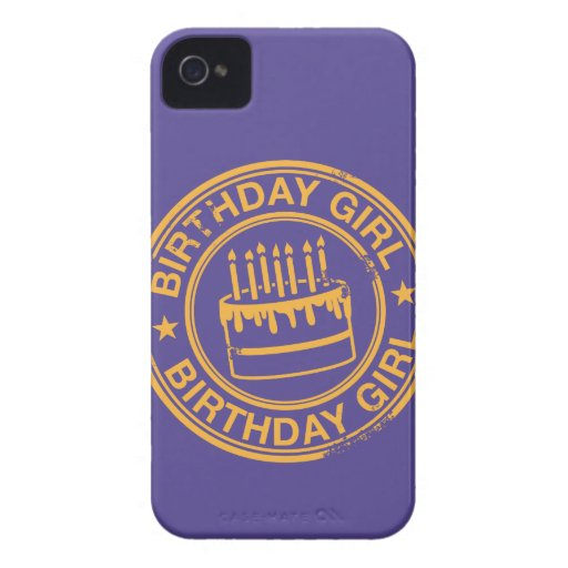 Birthday Girl -yellow rubber stamp effect- Case-Mate iPhone 4 Cases