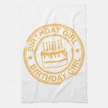 Birthday Girl -yellow rubber stamp effect- Hand Towel