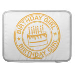 Birthday Girl -yellow rubber stamp effect- Sleeves For MacBook Pro