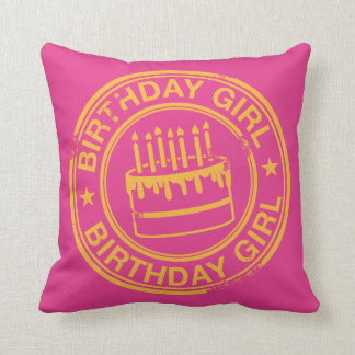 Birthday Girl -yellow rubber stamp effect- Throw Pillow