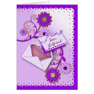 Birthday - Girlfriend - Purple/Flowers/Letter Card