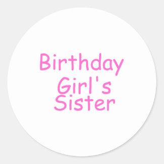 Birthday Girl's Sister Classic Round Sticker
