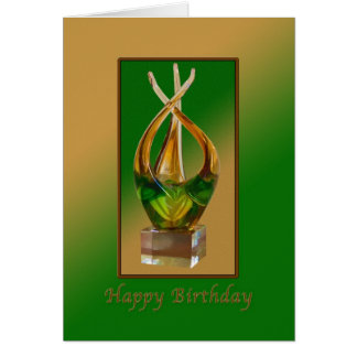 Birthday, Glass Sculpture in Greens and Browns Card