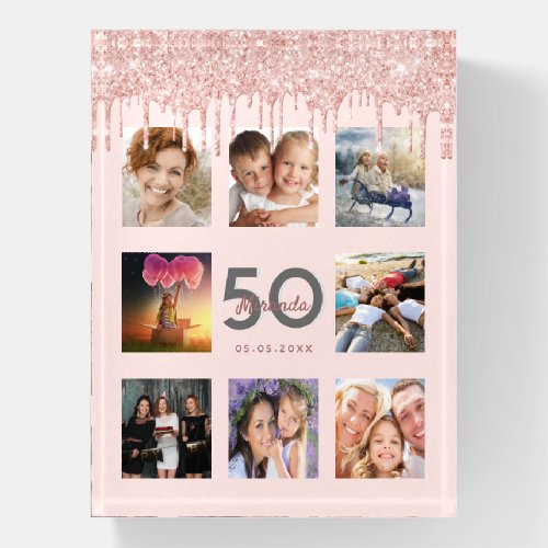 Birthday glitter drips photo rose gold pink paperweight