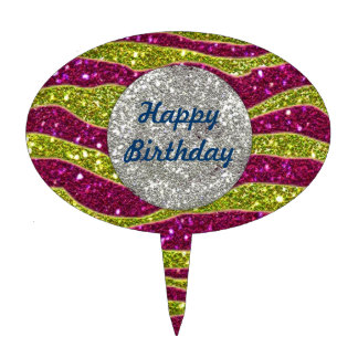 Birthday Glitters Yellow Pink Zebra Stripes Cake Toppers