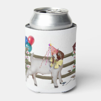 Birthday Goat with Surprise Message on Bottom Can Cooler