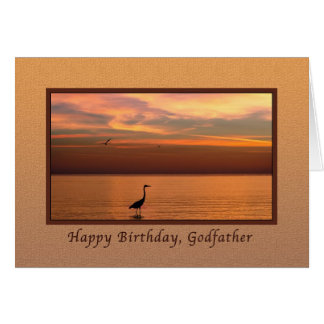 Birthday, Godfather, Ocean View at Sunset Card
