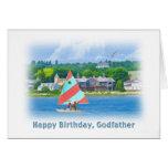 Birthday, Godfather, Sailboat on a Lake,  Nautical Greeting Cards