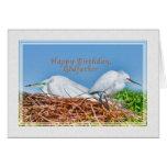 Birthday, Godfather, Two Nesting Egrets Card