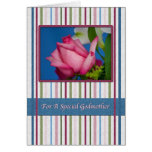 Birthday, Godmother, Red Rose, Stripes Cards