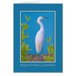 Birthday, Godmother, Snowy Egret Greeting Cards