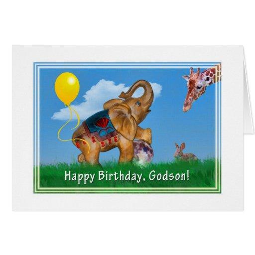 Birthday, Godson, Elephant, Giraffe Greeting Cards