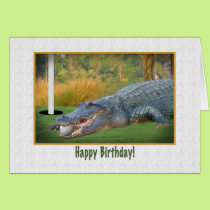 Birthday, Golf, Alligator Card